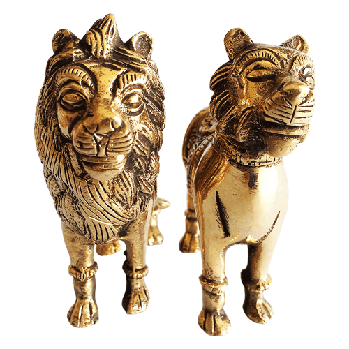 Brass Lion with Pair