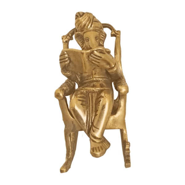 Brass Statue Lord Ganesha Reading Book